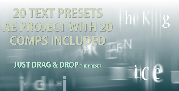 VideoHive Text Presets 20 text animation presets 2034652