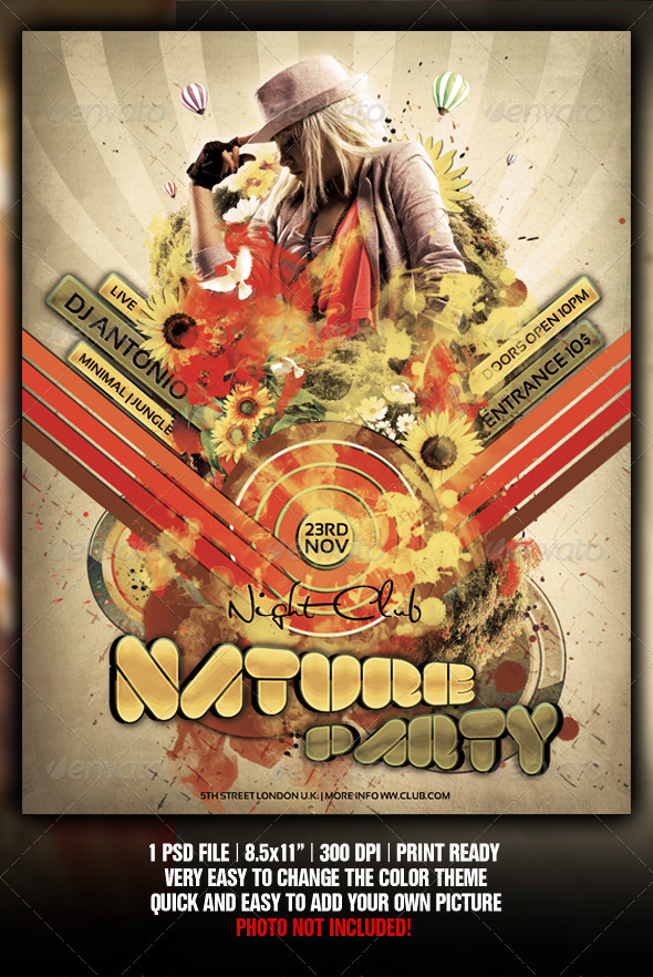 GraphicRiver Retro Nature Party Flyer Poster Template 762354