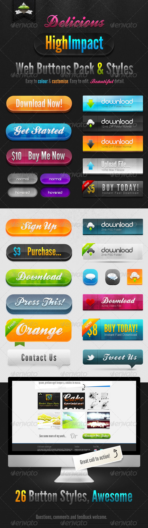GraphicRiver Delicious High Impact Web Buttons Pack & Styles 166147
