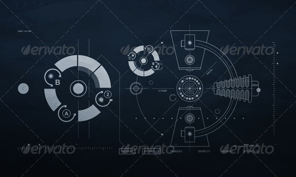 GraphicRiver Drawing mechanism on a dark background 236650