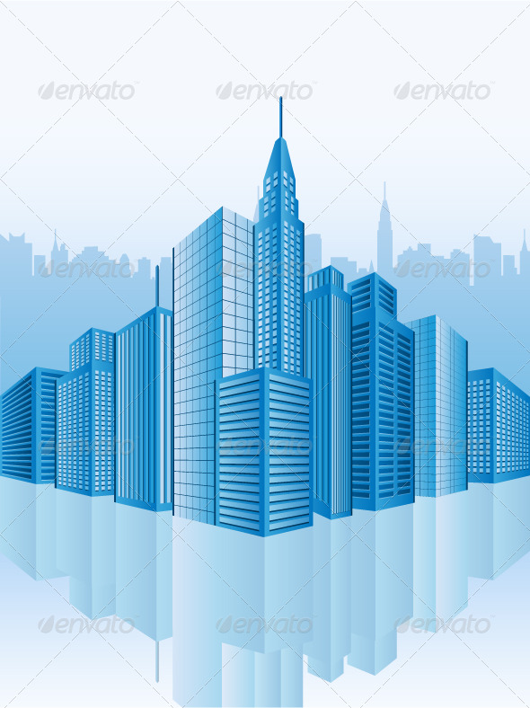 Graphic River Image of office buildings Vectors -  Objects  Buildings 236825