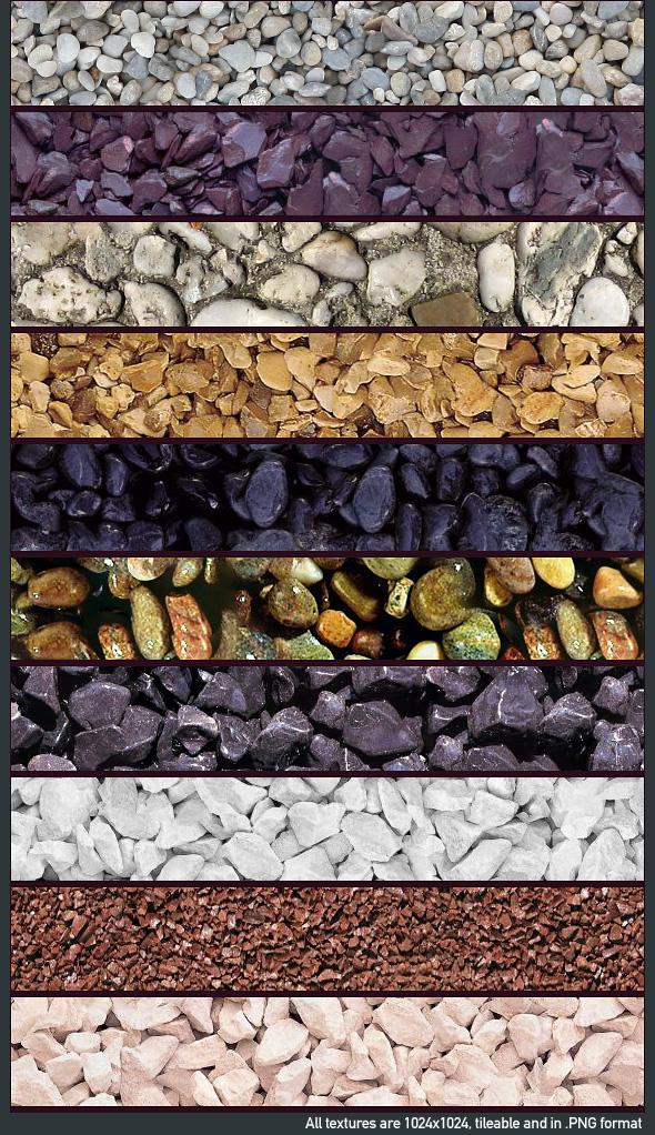 3DOcean Seamless Gravel Texture Pack x10 77072