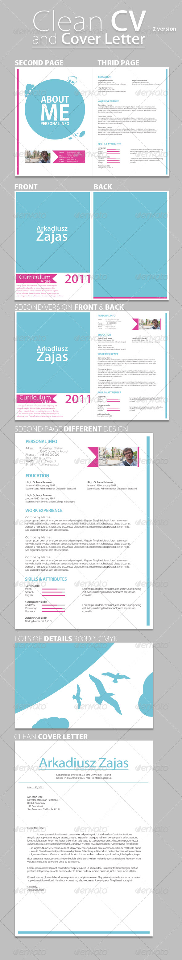 GraphicRiver Clean CV & Cover Letter 236478