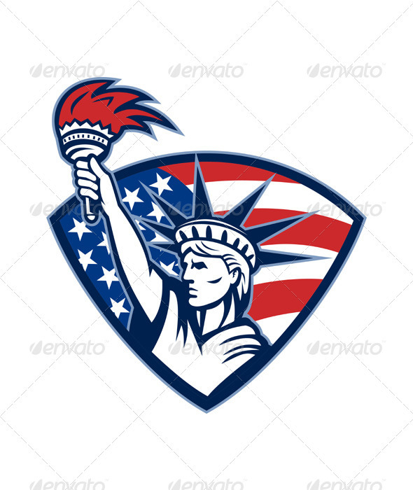 Graphic River Statue of Liberty Holding Flaming Torch Shield Vectors -  Characters  People 2043623