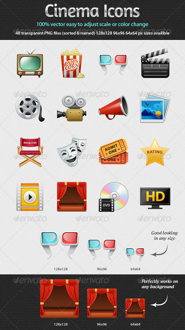 Graphic River Cinema Icons Icons -  Web 2061859