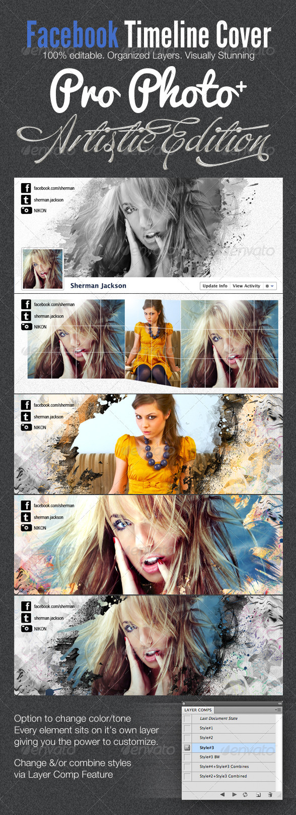 GraphicRiver ProPhoto Artistic Facebook Timeline Cover Template 2062231