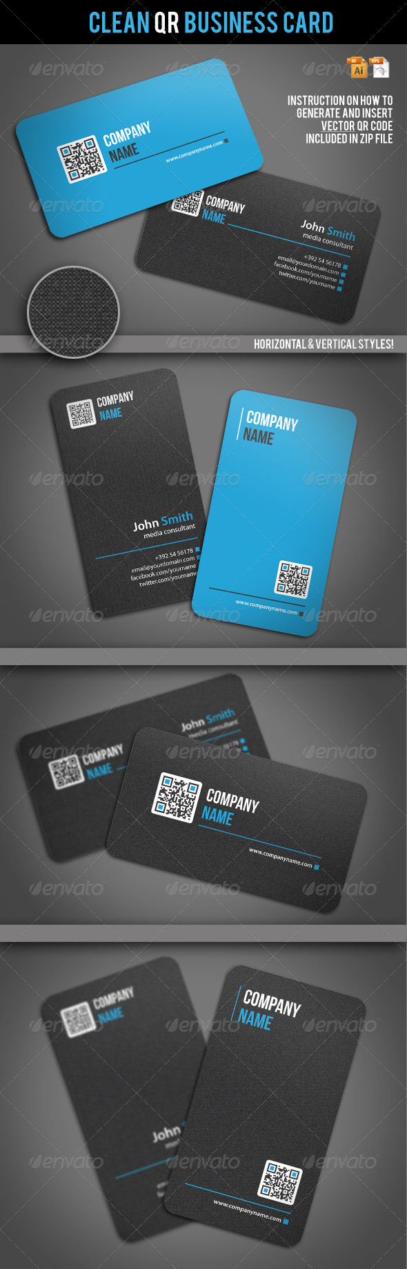 GraphicRiver Clean QR Business Card 2062604