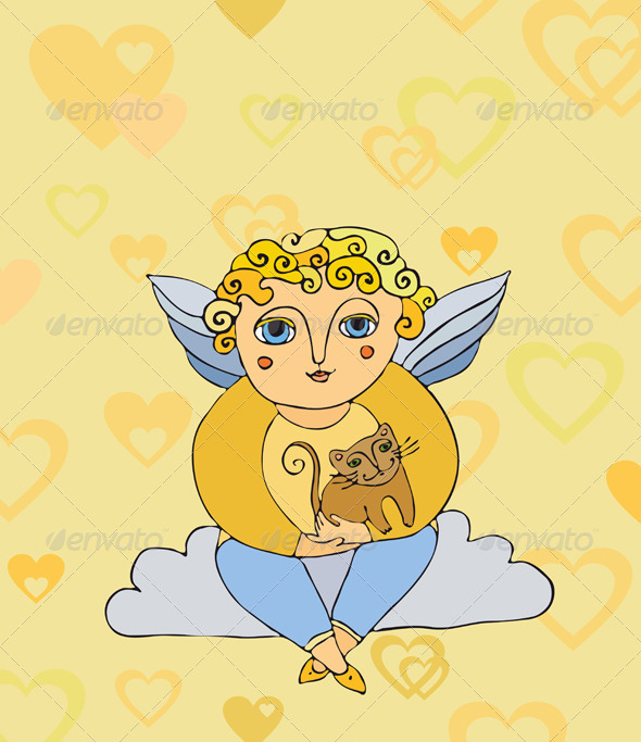 Graphic River Angel on a Cloud with a Cat Valentine's Day  Vectors -  Characters  People 2064335