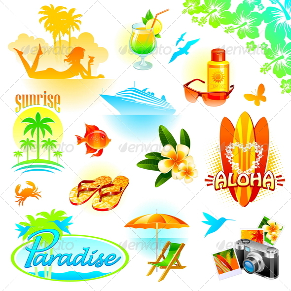 Graphic River Tropical Resort Travel and Exotic Holidays Vectors -  Conceptual  Travel 2067886