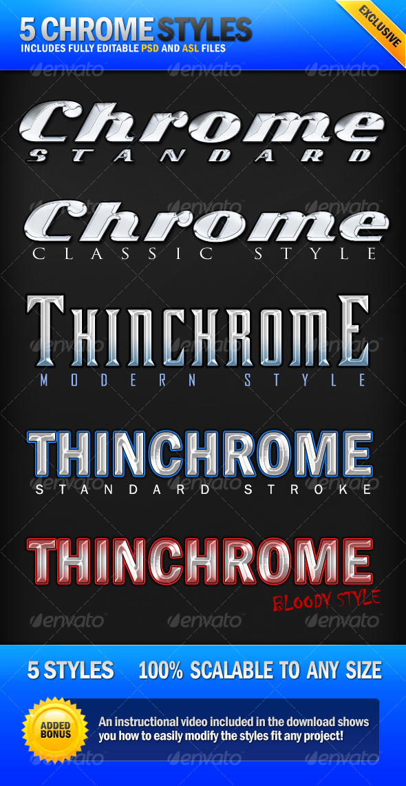 GraphicRiver Chrome 5 Clean Metallic Photoshop Styles 78592