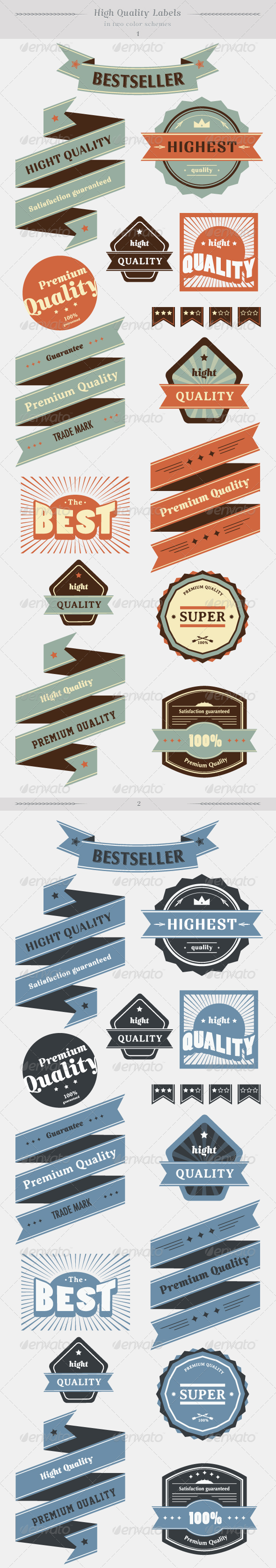 GraphicRiver High Quality Labels Whit Vintage Design Stock Vect 2061090