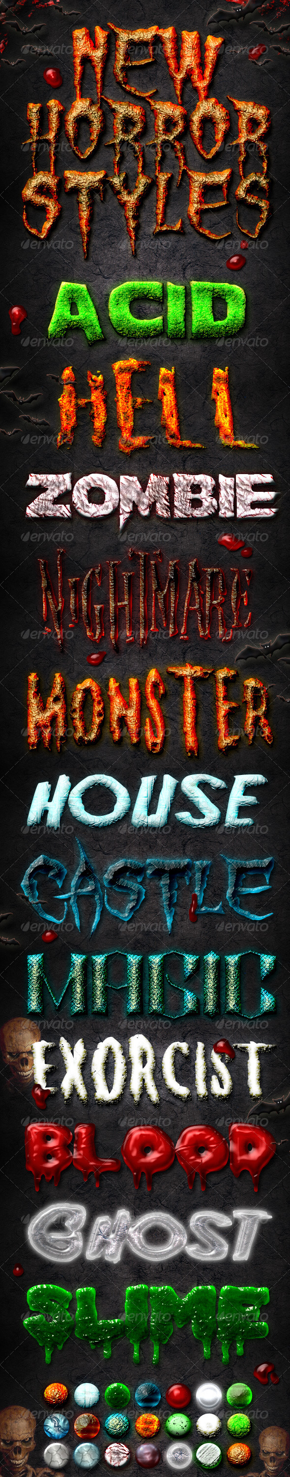 Graphic River New Horror Styles Add-ons -  Photoshop  Styles  Text Effects 2072233