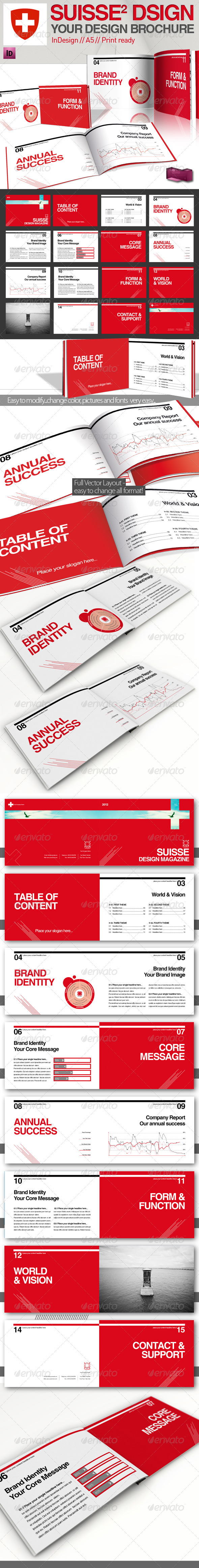 Graphic River Swiss Style Report // Magazine // A5 Print Templates -  Brochures  Corporate 2072604