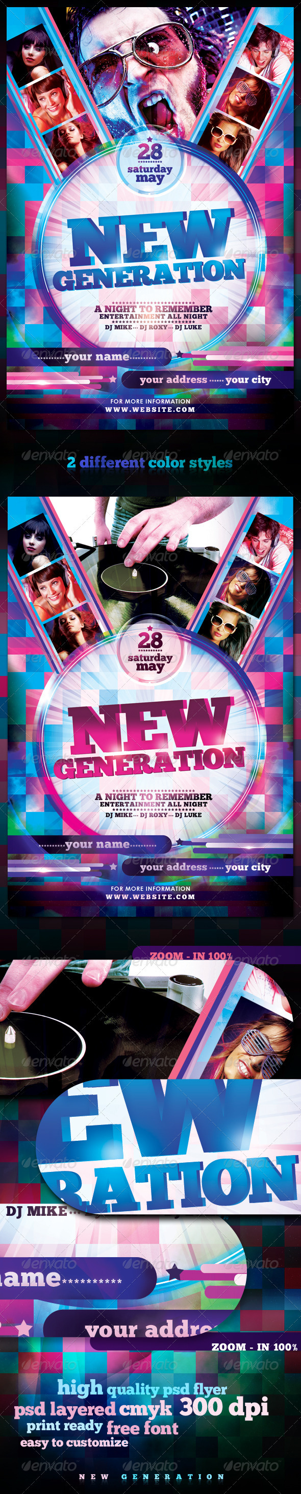Graphic River New Generation Flyer Template Print Templates -  Flyers  Events  Clubs & Parties 2072979