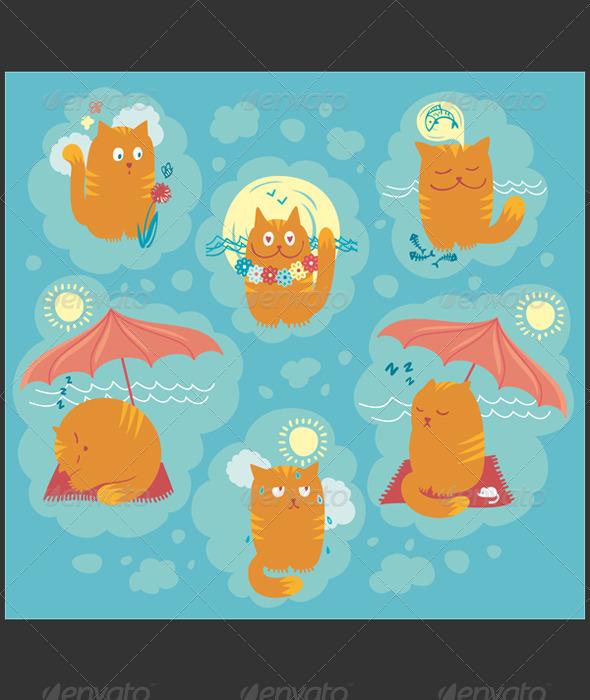 Graphic River Summer Cats Vectors -  Characters  Animals 2073385