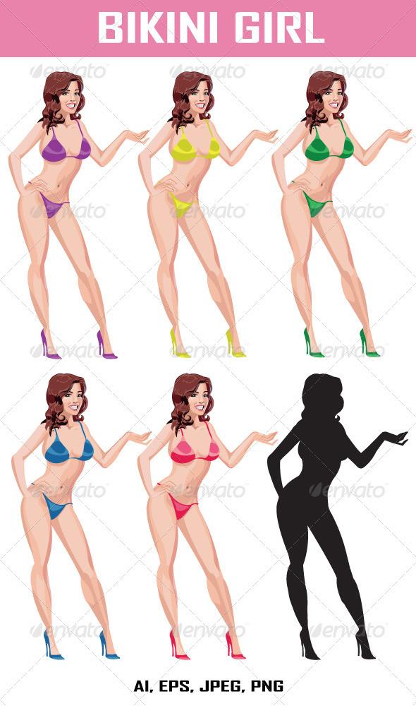 Graphic River Bikini Girl Vectors -  Characters  People 2075070