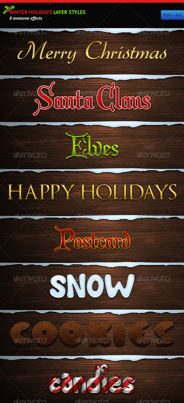 GraphicRiver Winter Holidays Layer Styles 145595