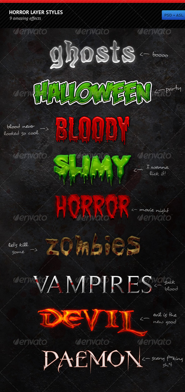 GraphicRiver Horror Layer Styles 144604