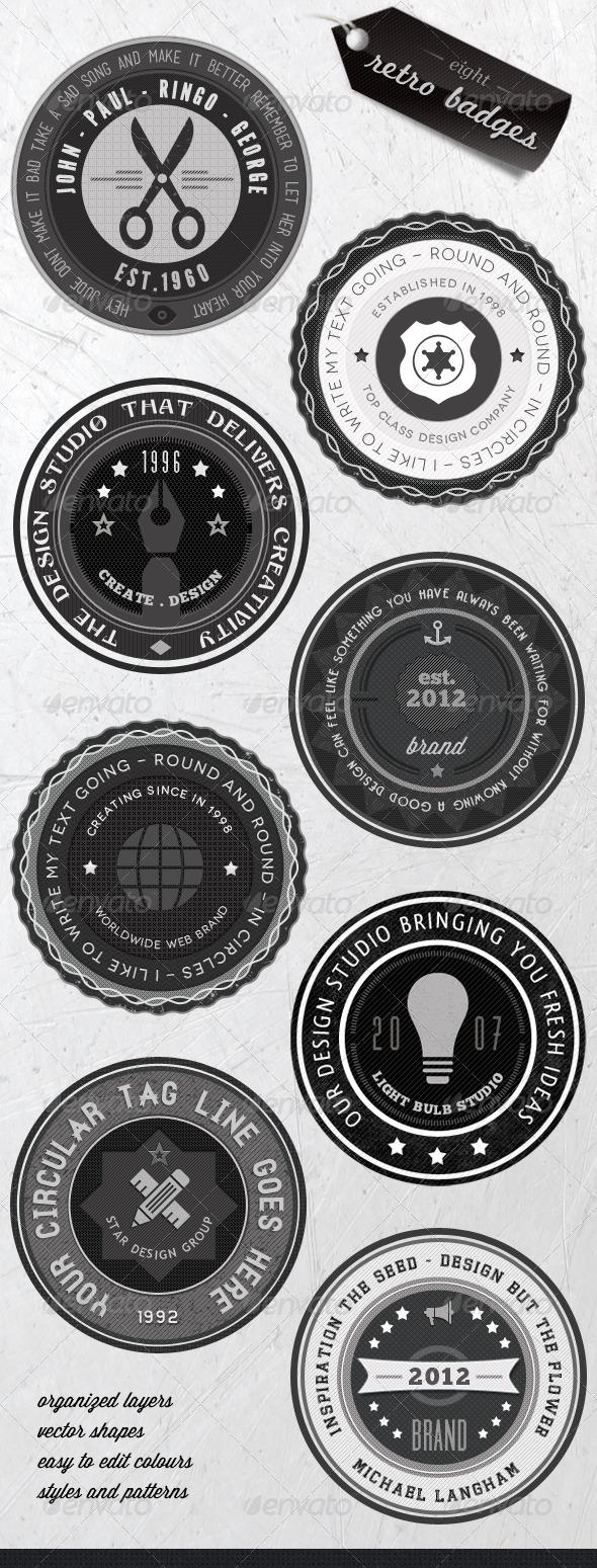 GraphicRiver Retro Badges Faded Vintage Labels V.3 2079309
