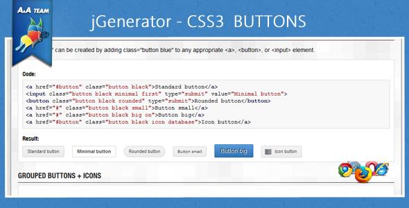 CodeCanyon jGenerator CSS3 Buttons 238410