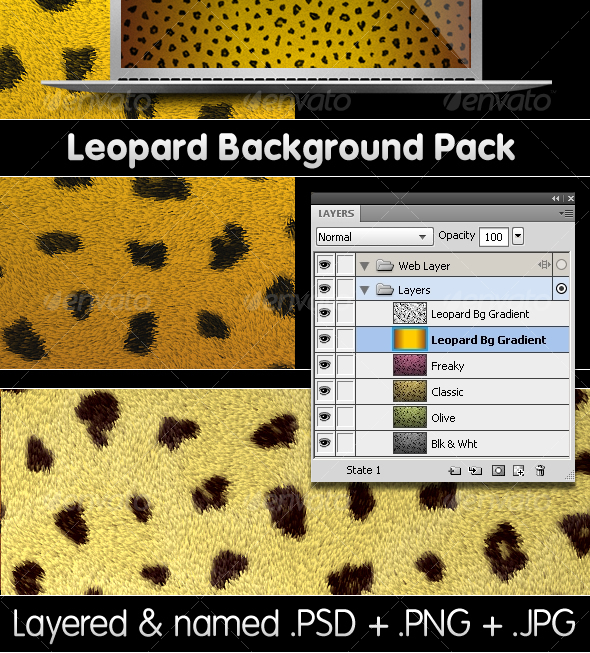 Graphic River Leopard Backgrounds Pack PSD & PNG Graphics -  Backgrounds 78920