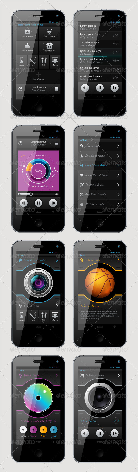 Graphic River Simple Vector Template Interface for Phone  Vectors -  Miscellaneous 2080939