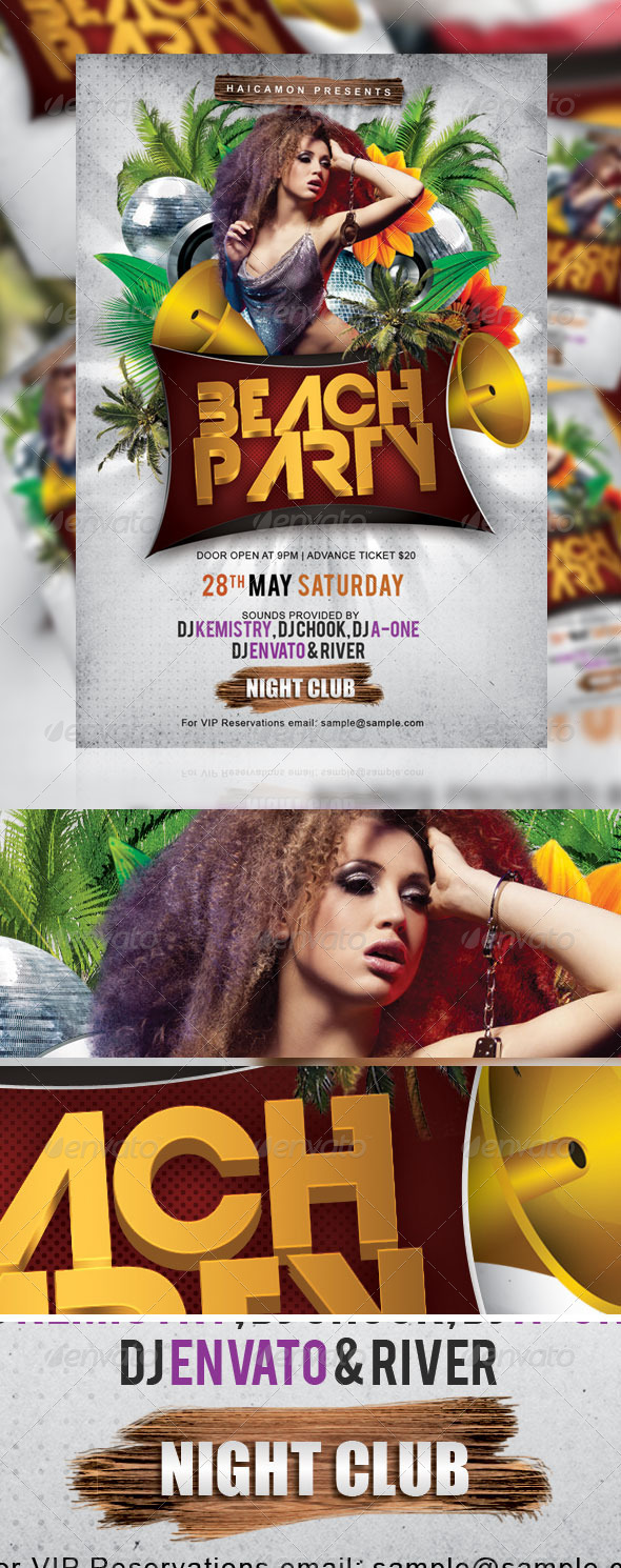 GraphicRiver Beach Night Party Flyer 2079259