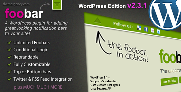 CodeCanyon Foobar WordPress Notification Bars 411466