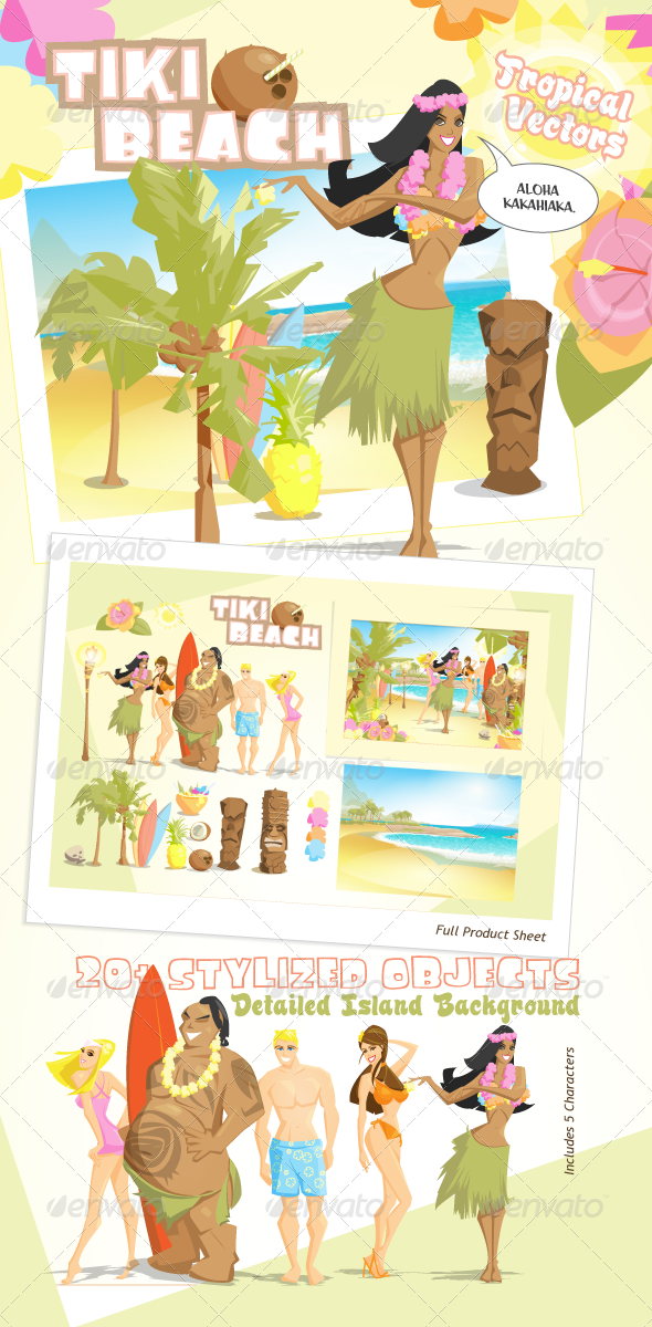 GraphicRiver Tiki Beach Tropical Vectors 239152