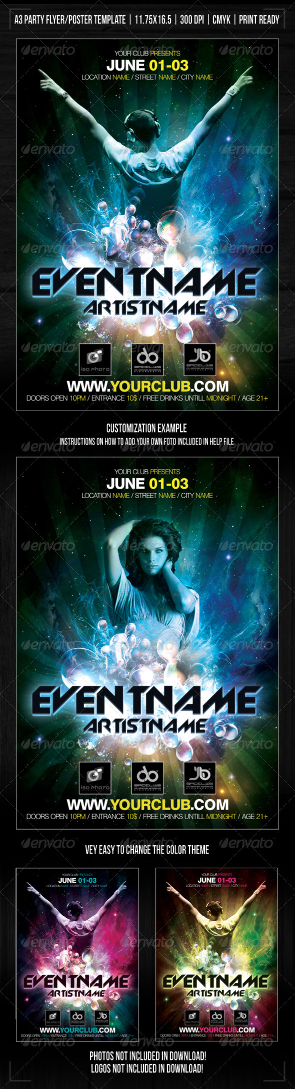 GraphicRiver Nightclub Space Party Poster Flyer Template 239727
