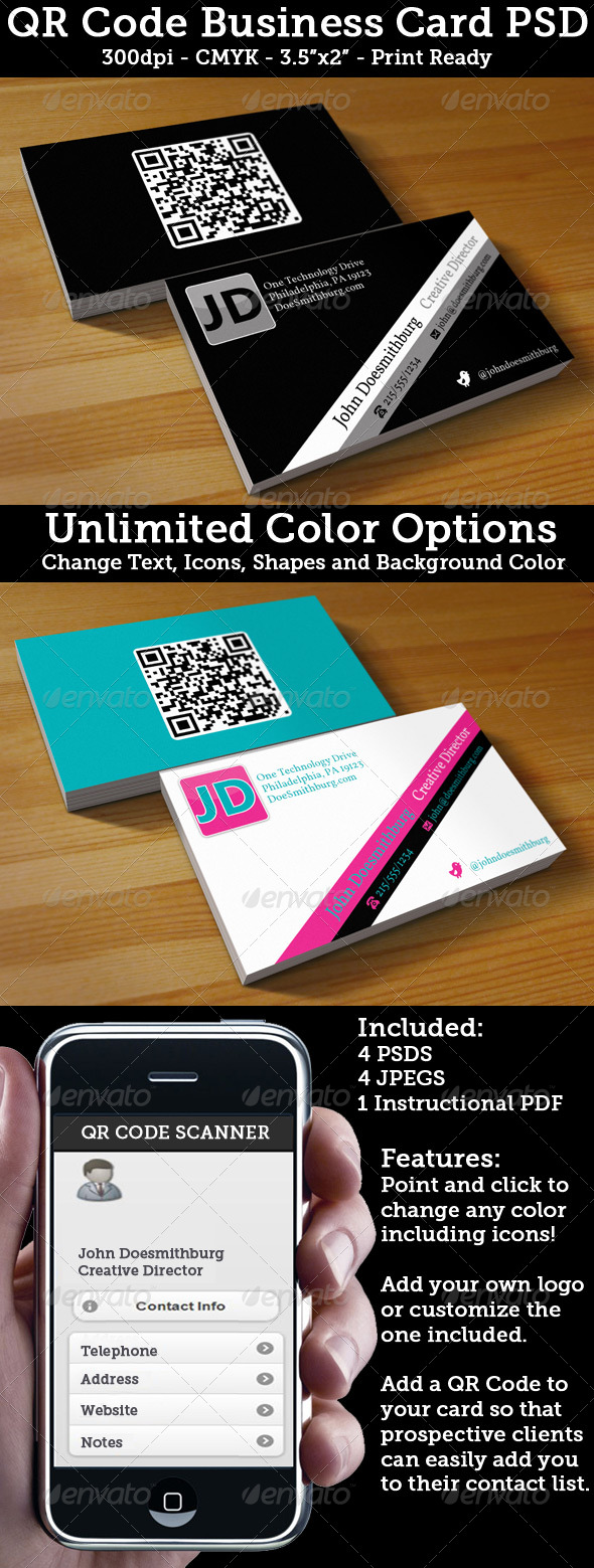 GraphicRiver QR Code Business Card Unlimited Colors 239851