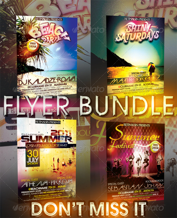 GraphicRiver SUMMER FLYER BUNDLE 4IN1 239980