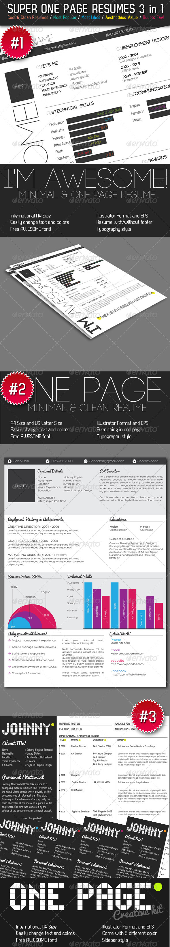 GraphicRiver Super One Page Resumes Bundle 3 in 1 240495