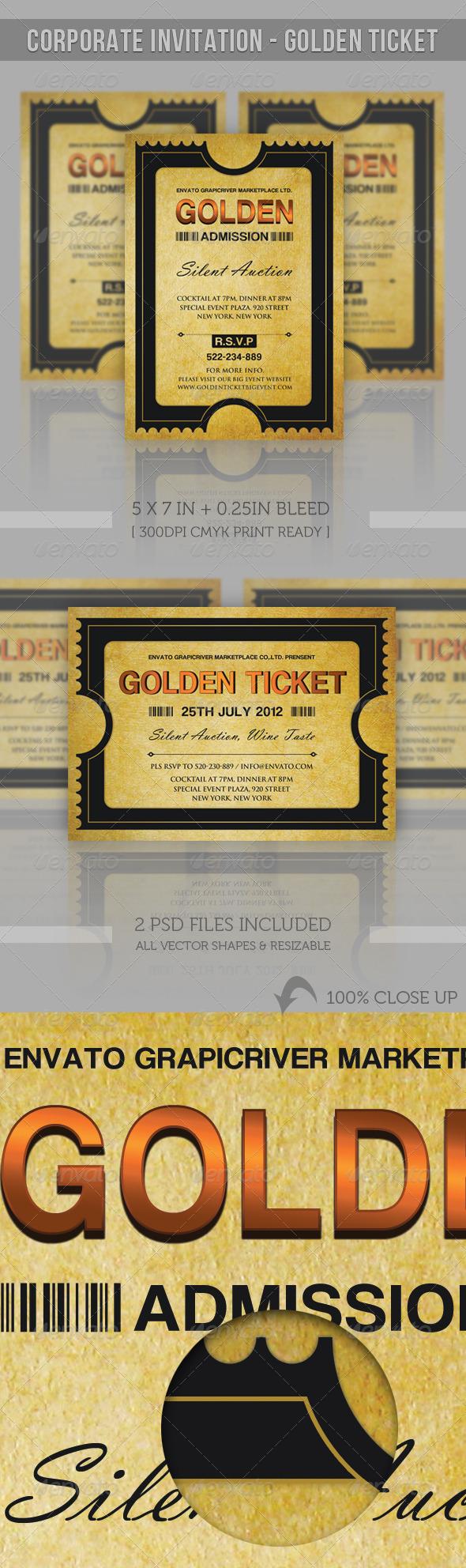 GraphicRiver Corporate Invitation Golden Ticket 2064967