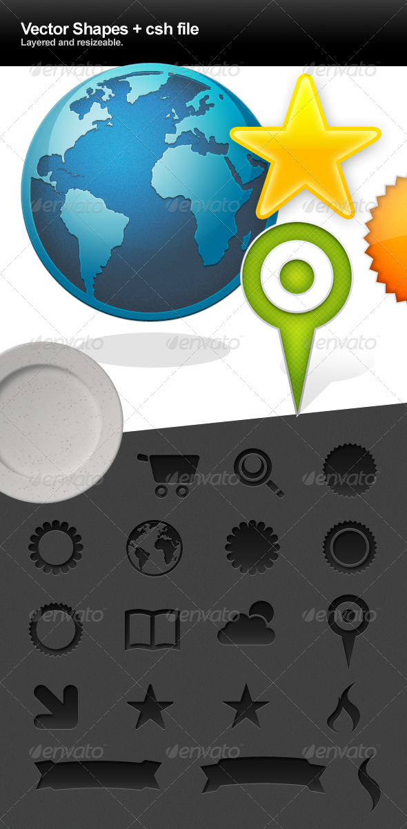 GraphicRiver 14 Vector Shapes and CSH file 241043