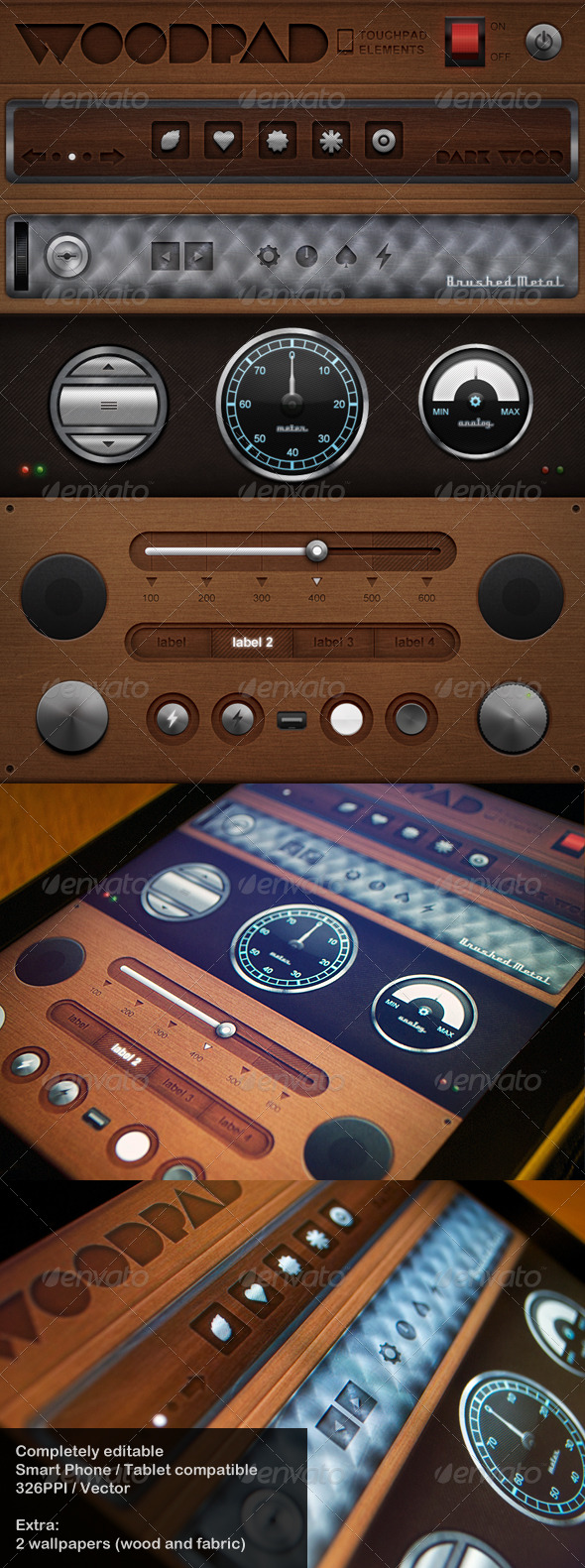 GraphicRiver Woodpad Touch User Interinterface 241089