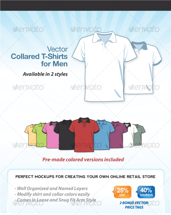 GraphicRiver Collared T-Shirts for Men 80009