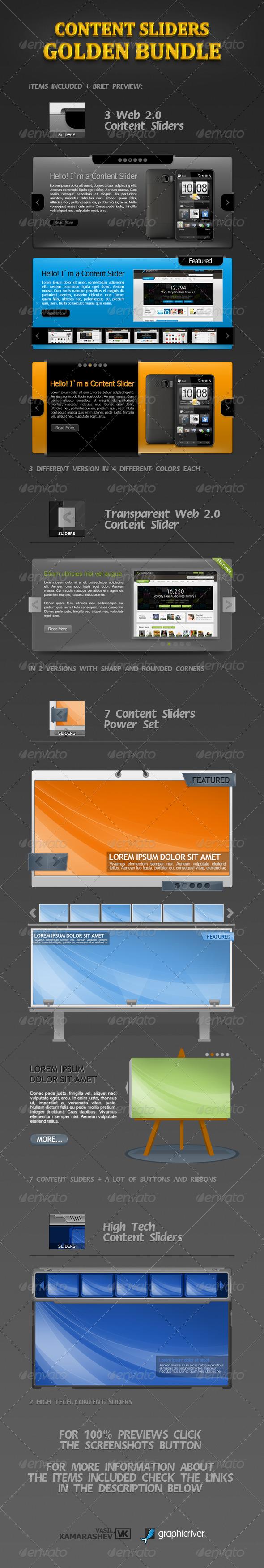 GraphicRiver Content Sliders Golden Bundle 242325