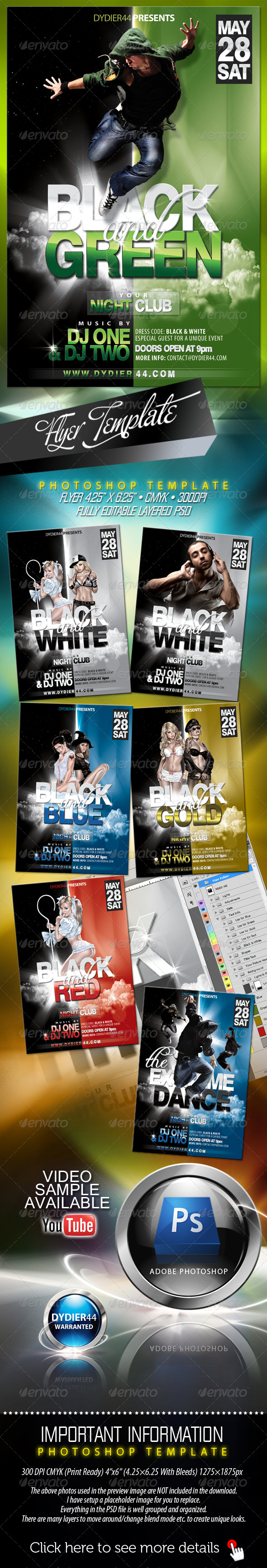 GraphicRiver Black & Green Flyer Template 4x6 242361