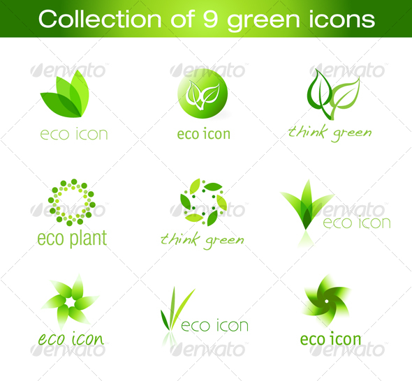 GraphicRiver Collection of 9 vector green icons 80676