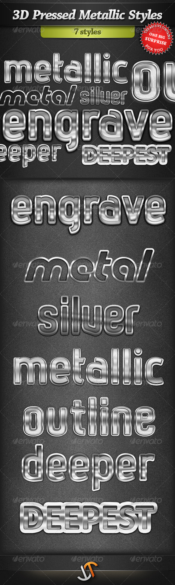 GraphicRiver 3D Pressed Metallic Text Styles 242578