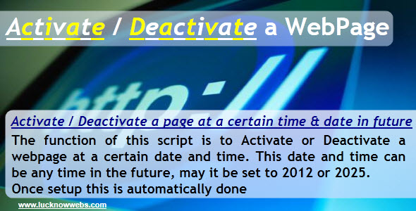 CodeCanyon Activate Deactivate a Webpage 226060
