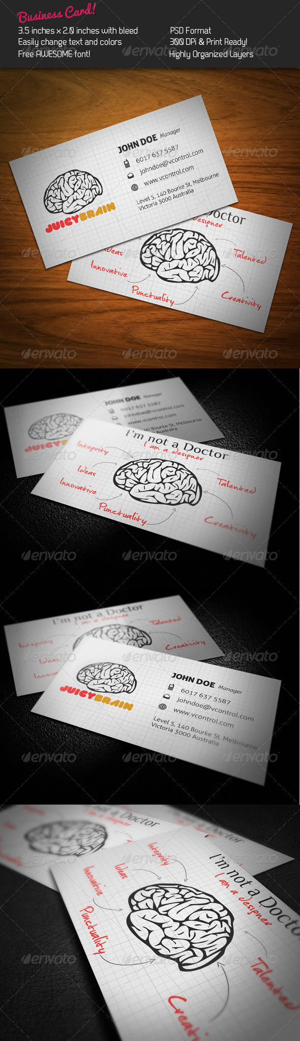 GraphicRiver Juicy Brain Business Card 244066