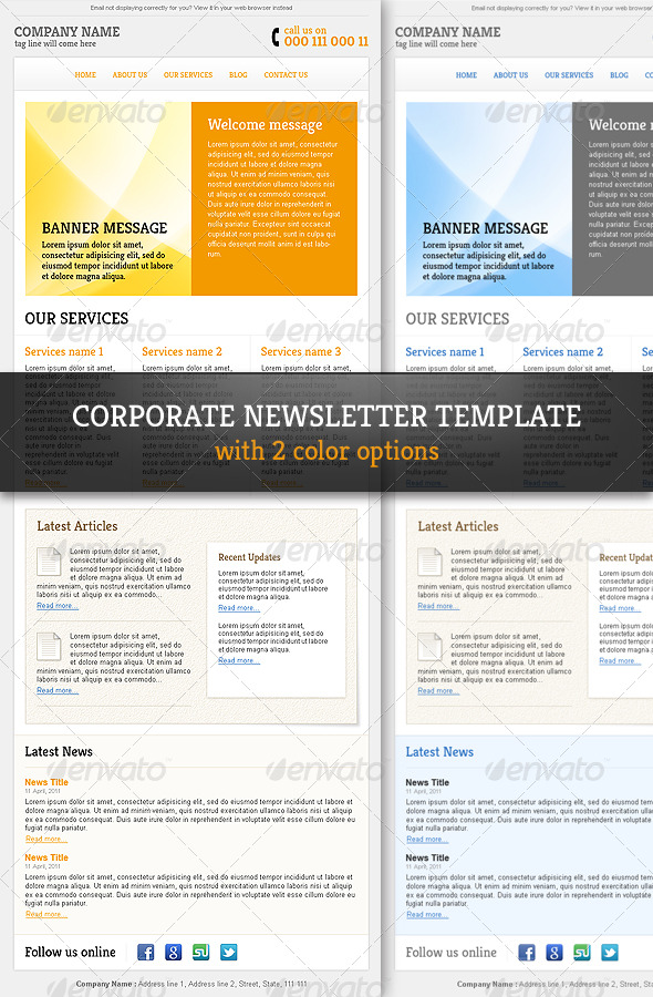 GraphicRiver Corporate & Professional Email Newsletter Template 244379