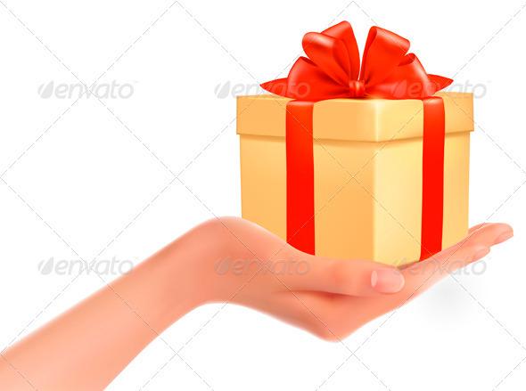 Graphic River Gift Box in Hand Vectors -  Conceptual  Seasons/Holidays 2012688