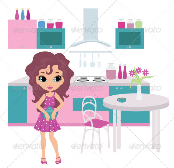 Graphic River Cartoon girl on kitchen bears a teapot Vectors -  Characters  People 2167485