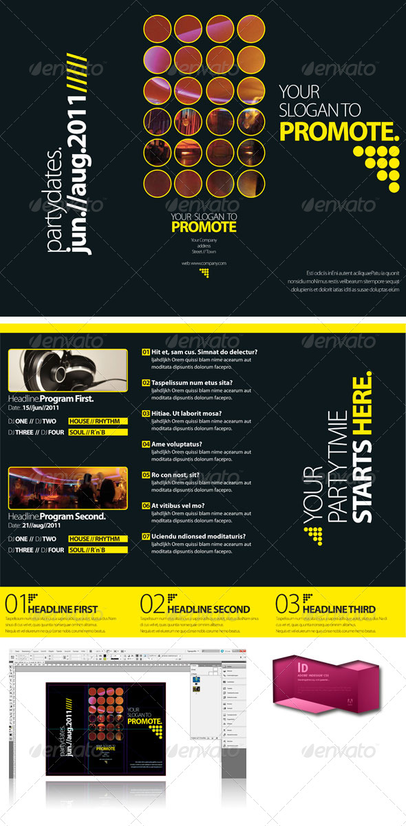 GraphicRiver Black Club Trifold Brochure InDesign Template 246081