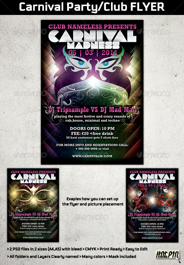 GraphicRiver Carnival Party Club Flyer Template 162212