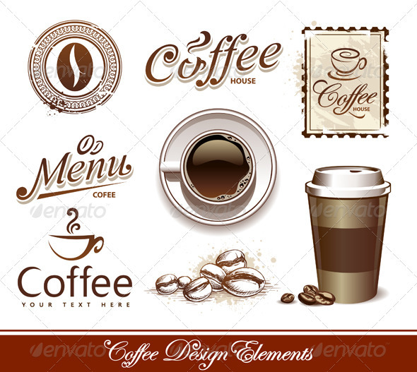 GraphicRiver Vector set of coffee design elements 246712