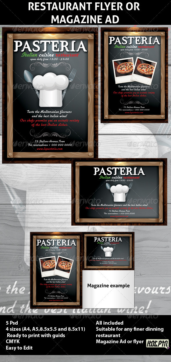 GraphicRiver Restaurant Magazine Ads or Flyers 6 247544